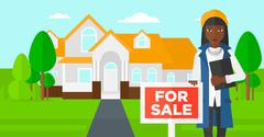 Real estate agent offering house - stock illustration