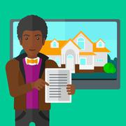 Stock Illustration of Real estate agent offering house