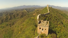 BEAUTIFUL AERIAL FLY BY OF GREAT WALL OF CHINA - JIN SHAN LING - stock footage