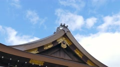 Temple rooftop detail and sky, Kyoto, Japan Stock Footage