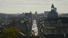 High angle view of cars driving on a street in Zagreb, Croatia Stock Footage