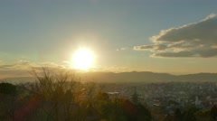 Sunset over Kyoto cityscape, Kyoto, Japan Stock Footage