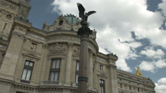 Facade of National Musical Academy in Paris Stock Footage