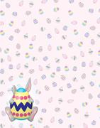 Timid Gray Bunny on Easter Egg background Stock Illustration