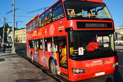 Moscow, Russia -February 18.2016.  two-storey tourist bus City Sightseeing on - stock photo