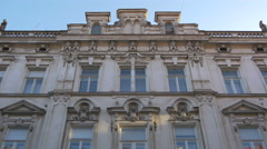 Low angle view of a beautiful old building in Zagreb, Croatia Stock Footage