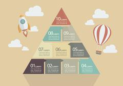 Stock Illustration of Ten Step of Pyramid Chart Infographic