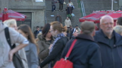 View of many people in Dolac Market, Zagreb, Croatia Stock Footage
