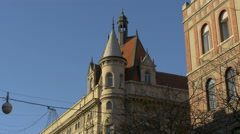 Beautiful view of the tower of an old building in Zagreb, Croatia - stock footage