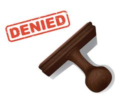 Denied Stamped in Red Ink with Rubber Hand Stamp - stock illustration