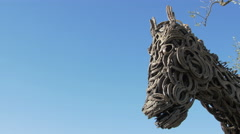 Pan view of Lucky, a horse sculpture located in Saint-Paul-de-Vence Stock Footage