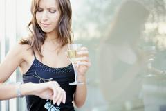 Woman waiting for rendezvous - stock photo