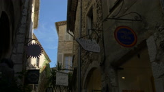 Famous art galleries on Rue Grande street in Saint-Paul-de-Vence Stock Footage