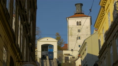 View of a funicular at Uspinjaca and Kula Lotrscak in Zagreb, Croatia Stock Footage