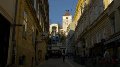 View of the funicular from Tomiceva street in Zagreb, Croatia Stock Footage
