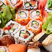 Closeup japanese sushi - stock photo