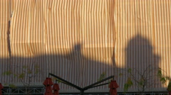 Shadow on a fabric covering a building in Dolac Market, Zagreb Stock Footage
