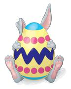 Gray Rabbit Hiding Behind Easter Egg Stock Illustration