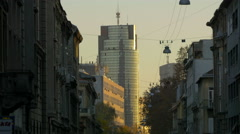 View of Cibona tower and old buildings in Zagreb, Croatia Stock Footage