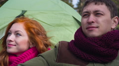 Couple  hiking outdoors at romantic place in mountain 8 Stock Footage