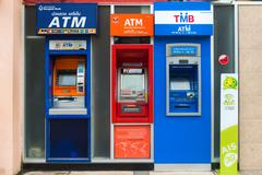 Row of ATM machines in Thailand Stock Photos