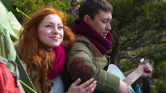 Couple  hiking outdoors at romantic place in mountain 11 Stock Footage