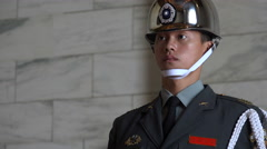Taiwanese special honor guard at the Chiang Kai-shek memorial hall in Taipei - stock footage