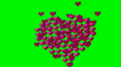 Many animated pink small hearts expand and contract - stock footage