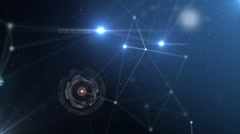 Blue abstract technology futuristic network - fantasy plexus background - stock footage