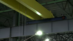 View on working overhead crane, close-up Stock Footage