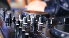 DJ Play at Audio production console Stock Footage