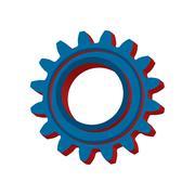3d cogwheel icon isolated on white background. Vector illustration. - stock illustration