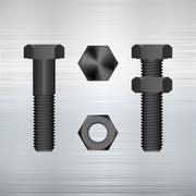 Screw on a metal background. Vector illustration. Stock Illustration