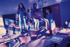 Kids misbehaving in class - stock photo