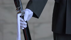 Taiwanese soldier holds rifle weapon at CKS memorial in Taipei Stock Footage