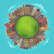 Amsterdam houses, little green planet Stock Illustration