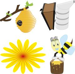A vector illustration set of honey bee related icons like happy honey bee - stock illustration