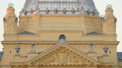 View of the pediment and part of the roof of the Art Pavilion in Zagreb, Croatia - stock footage