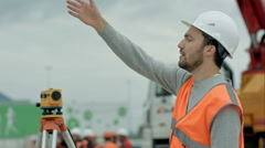 Business architect at construction site Stock Footage