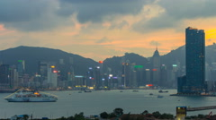 Top view of Hong Kong day to night, View from kowloon bay downtown timelapse Stock Footage