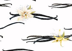 Watercolor vanilla and orchid pattern - stock illustration