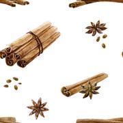 Watercolor spice pattern - stock illustration