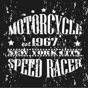 Vintage banner. Retro motorcycle tee banner. - stock illustration