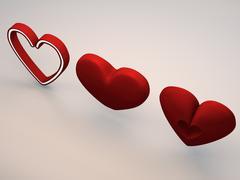 Cartoony Hearts High Poly Models 3D Model
