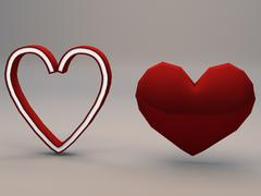 3d model of Cartoony Hearts Low Poly Game Ready Models