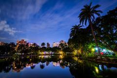 A lake at Zhongshan Park at night, in Xinyi, Taipei, Taiwan Stock Photos