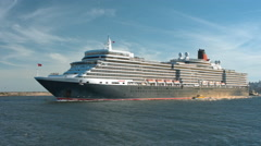 Queen Elizabeth Cruise Ship Stock Footage