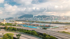 Top view of Hong Kong at day time, View from kowloon bay downtown timelapse Stock Footage