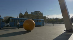 People walking, cars and trams driving on Marsala Tita street, Zagreb Stock Footage