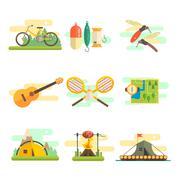 Tourist Summer Equipment. Flat Vector Set - stock illustration